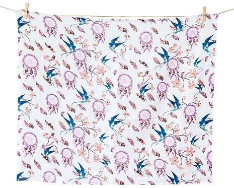 Muslin Square - muslin cloth, pink with print of swallows
