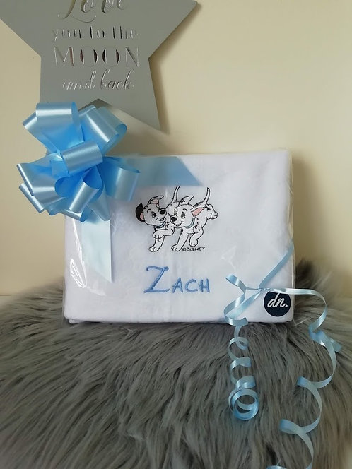Baby Personalised Blanket, white, pups