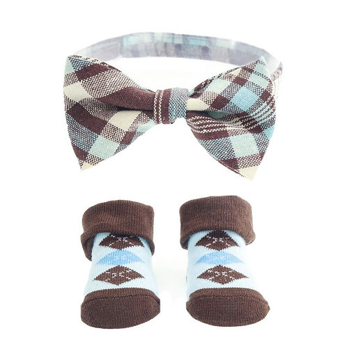 Light Blue/Brown Baby Boy Bow Tie & Sock Set (6-12 Months)