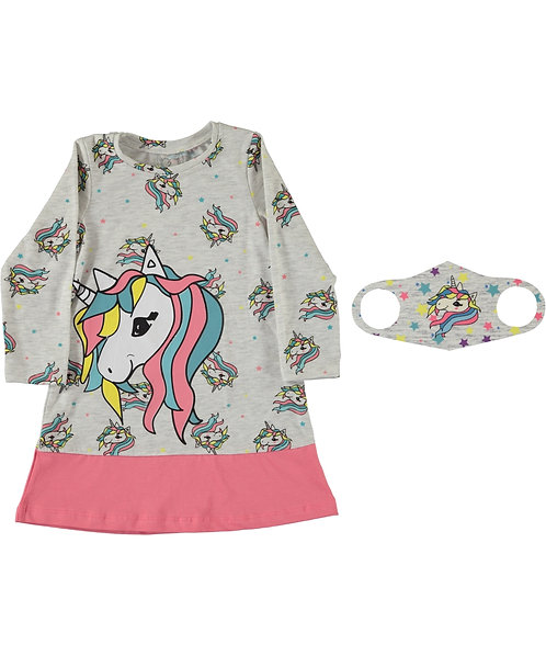 Girls Unicorn Dress and Face Mask, Natural with Pink Stripe