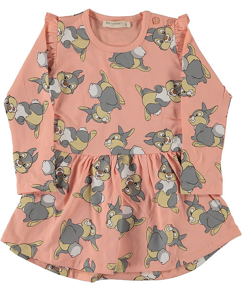 Girls Long Sleeve Cotton Dress with Famous Character of Thumper Bunny