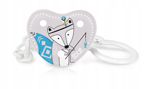Soother Clip, Blue, Baby Boy Design, Grey, Indian Fox Picture, Chain with Clip