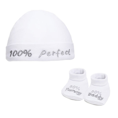 WHITE 100% PERFECT HAT & BOOTEE SET