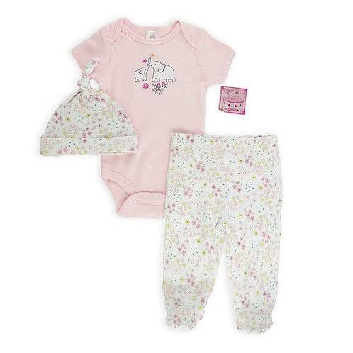 Baby Girl3 pcs set,  Bodysuit & Pants & Hat Set,  Pink, Elephants applique