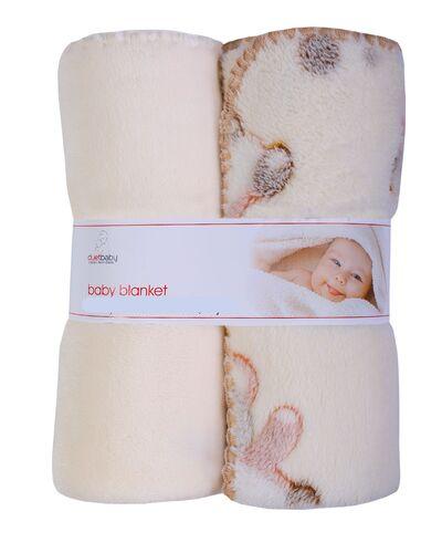 baby blankets - 2pk beige blankets with bear