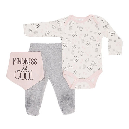 Baby Girl 3 pieces set with bib