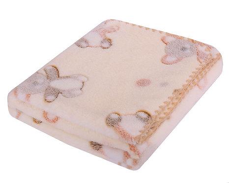 Baby fleece blanket - beige with bear