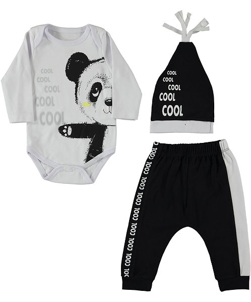 Baby Boy clothes, Bodysuits, hat, joggers with panda print / black & white