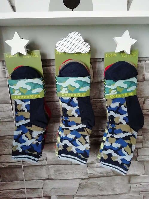 Boys Cotton Rich 3Pk Design Socks (Camo)