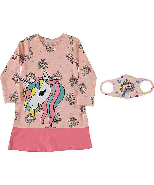 Girls Unicorn Dress and Face Mask - Pink