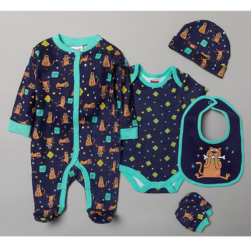 BABY SCOOBY DOO 5 PIECE GIFT SET (NB-6 MONTHS)