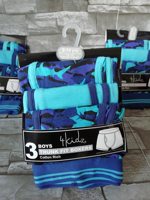 Boys 3Pk Cotton Rich Trunk Fit boxers (Shark)