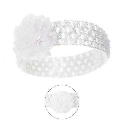 Crochet Headband w/Organza Flower -  White / 0-6 months
