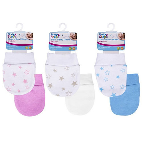 Baby Mitts, 2pk, Pink, White, Blue with star print