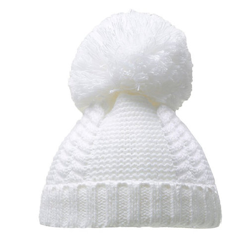 White Pearl & Cable Knit Pom-Pom Hat (0-6m)