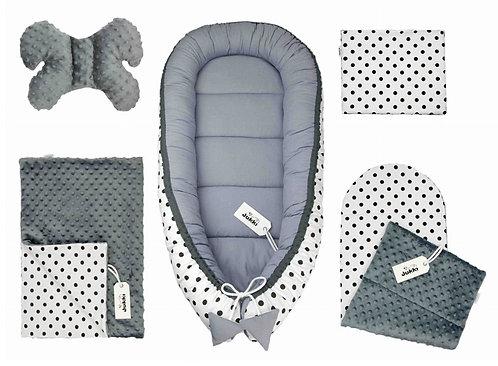Dots & Grey Minky 5-Piece Set