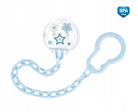 Blue Soother Holder, Chain with Clip