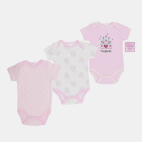 Baby Girl Bodysuits, Pink, 3pk