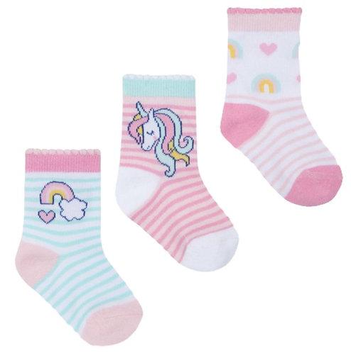 baby girl socks, light pink with unicorn design
