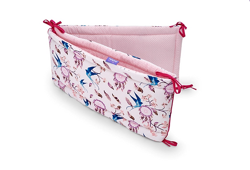 Baby Cot Bumper - Pink Swallows