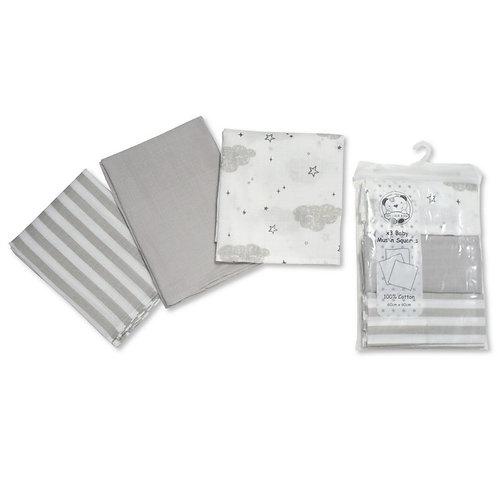 3 PACK DESIGN MUSLIN SQUARES- GREY