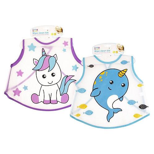 Large wipe Clean Baby Bib, Unicorn