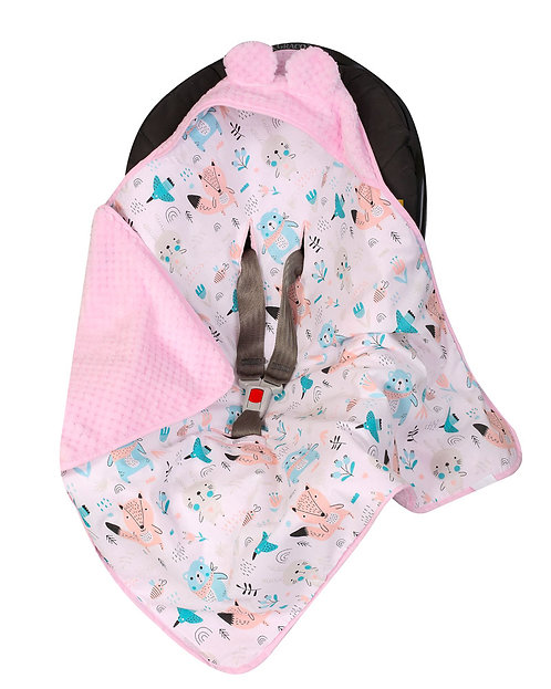 Baby Car Seat Blanket, Pink bear