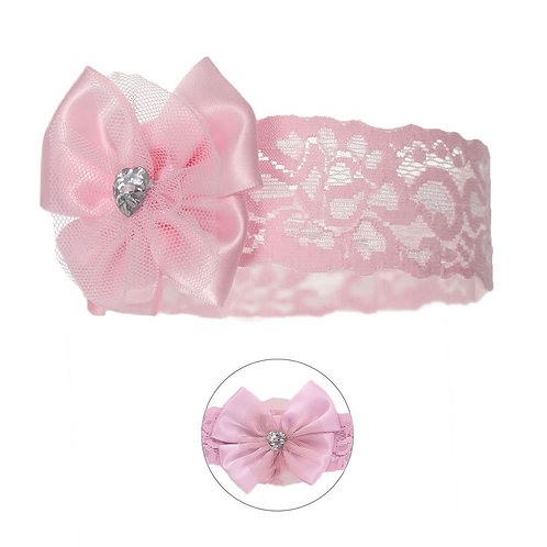 Lace Headband with Bow & Gem -Pink