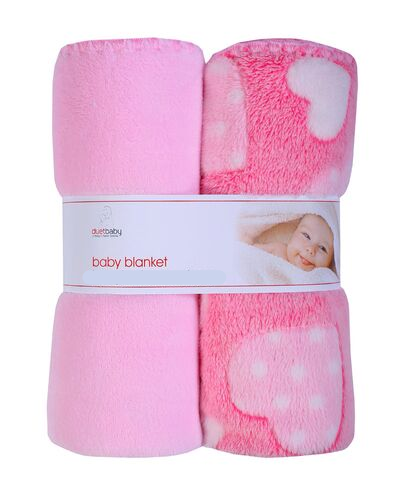 baby blankets - 2pk pink blankets with hearts