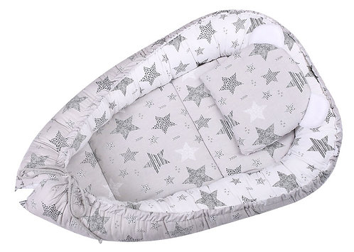baby nest, cocoon, sleeping pod white / grey with stars
