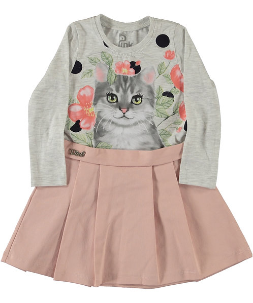 Girls Dress with Cat Print, dust pink