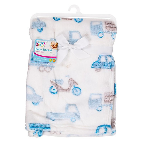 Supersoft Transport Fleece Baby Blanket white with light blue cars and trucks design