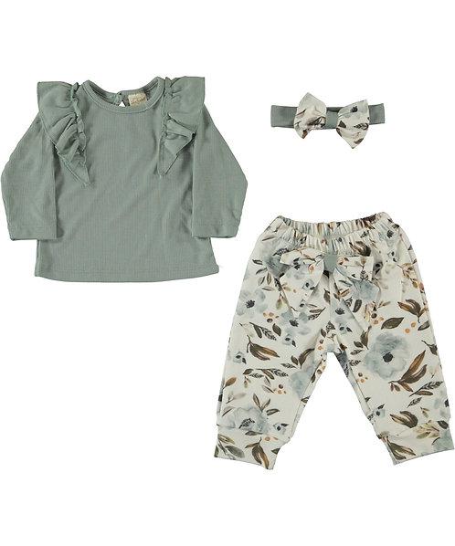 baby girl clothes, 3 pieces set, ribbed long sleeve top, jogger, headband