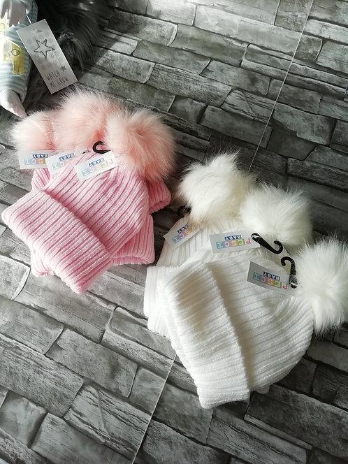 Baby Girls Ribbed Knit Fur Pom Pom Hat (6-18 months)