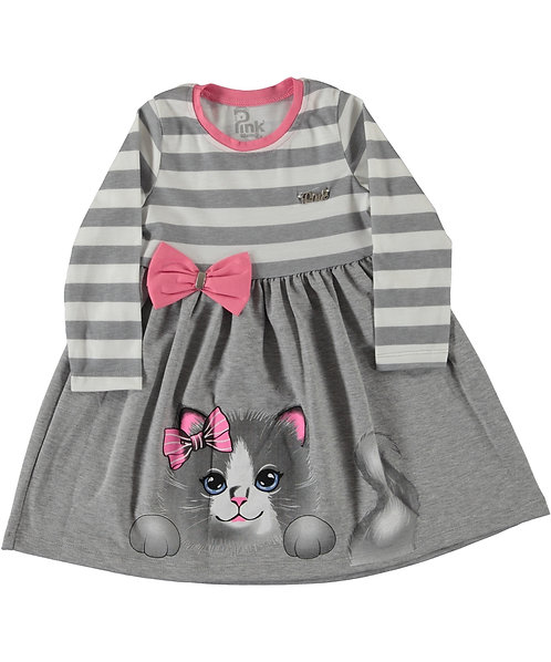 Girls Stripe Dress with Bow and Cat Print