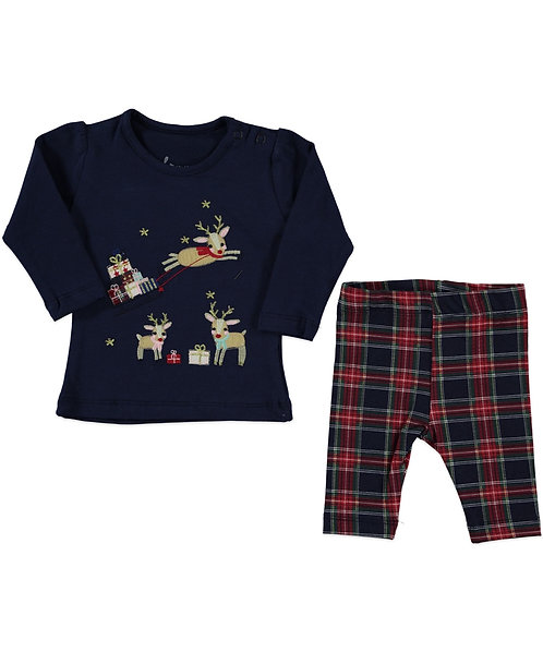 baby girl christmas legging set with long sleeve top and reindeers