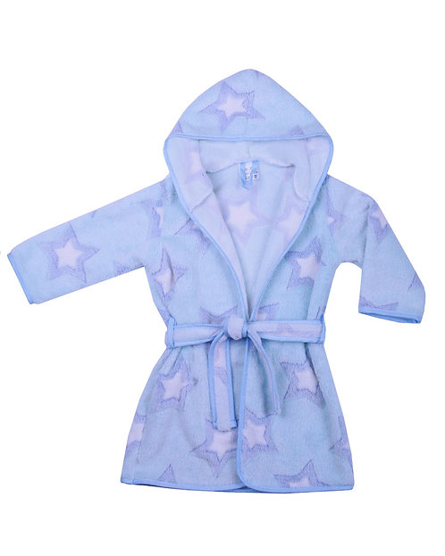 Baby Boy Dressing Gown, Robe, Light Blue with 3D Star Print