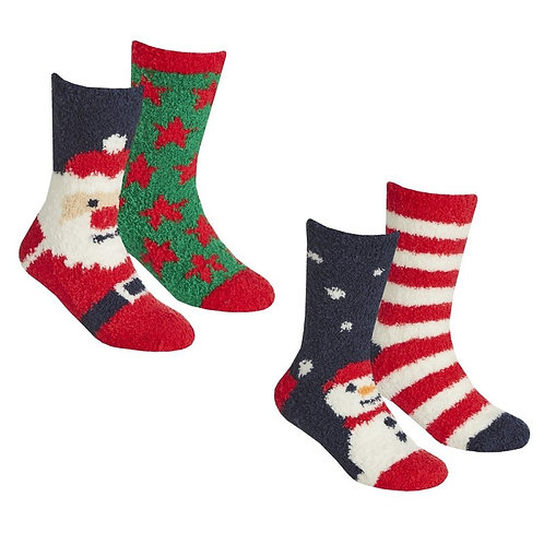 KIDS 2 PACK CHRISTMAS COSY SOCKS WITH GRIPPERS