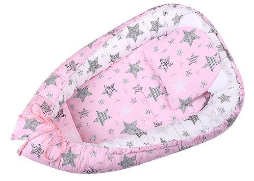 3PCS Baby Nest - Pink / Stars