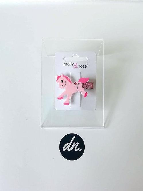 Cute Pony Motif  / Glitter Beak Clip - Pink