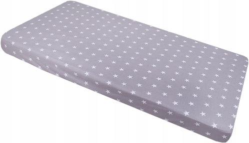 Fitted Cot Sheet for Standard Cot 120x60cm, Grey Sheet with White Stars
