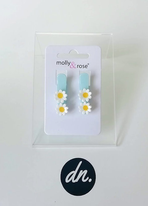 Daisies on pastel beak clips 3cm - Blue
