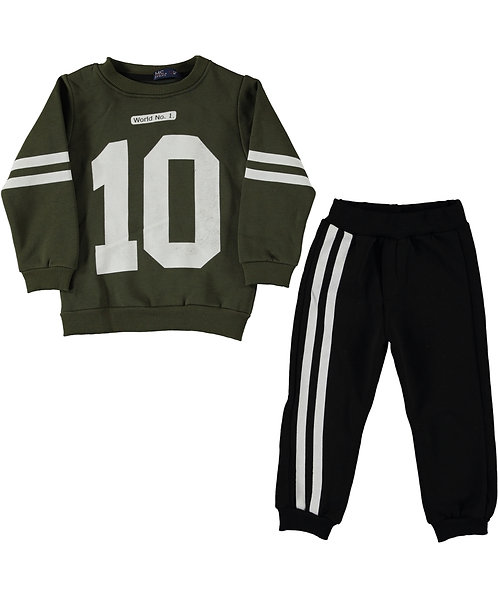 Boys Tracksuit, Khaki Sweatshirt with nr. 12 and black jogpants with white stripes