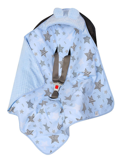 Baby Car Seat Blanket, blue stars