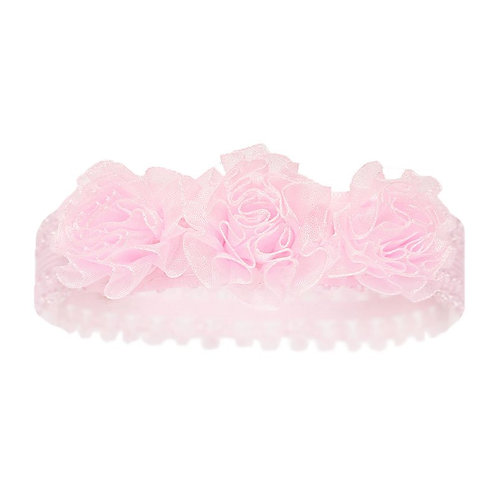 Pink Baby Headband with 3 flowers