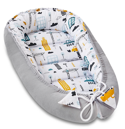 Baby Boy Grey Cocoon, Printed, Double-sided, Luxury, Soft, Velvet, Cotton front