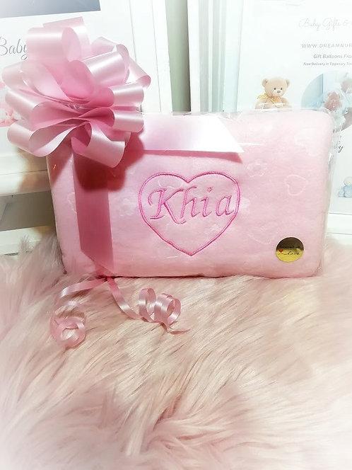 Personalised Baby Blanket Name & Love Heart