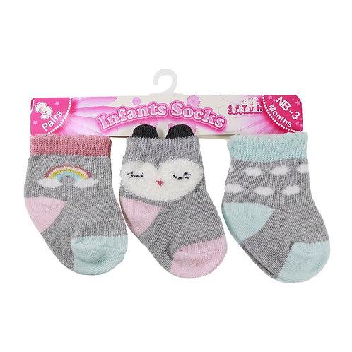 Baby Girl 3pk Socks, 3D Socks, Grey with Rainbow, Owl, Clouds