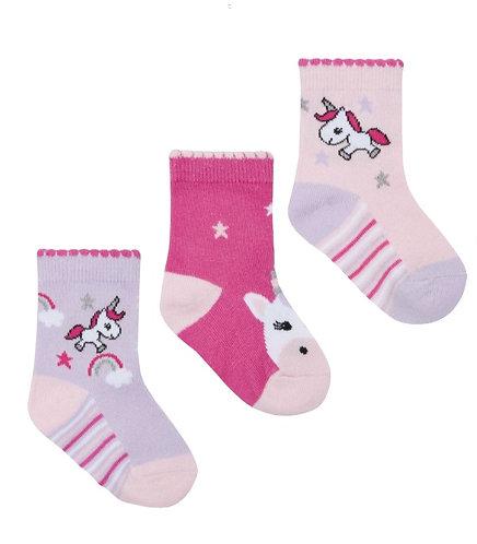 baby girl cotton rich design socks, unicorn, lilac, cerise