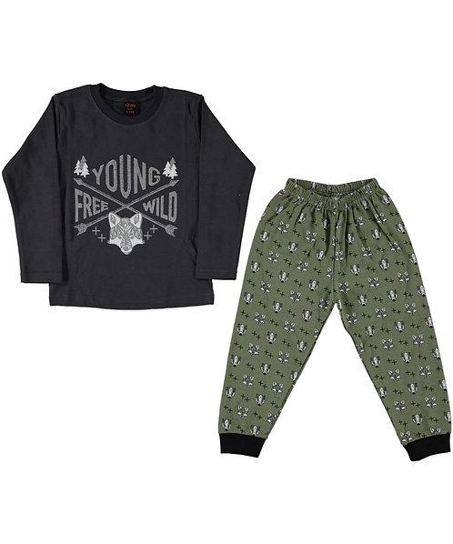 Boys Wild Pyjama's - Grey / Olive Green